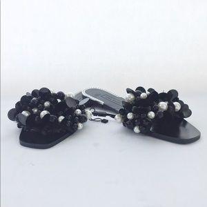 NEW Zara Basic Collection Beaded  Black Slides